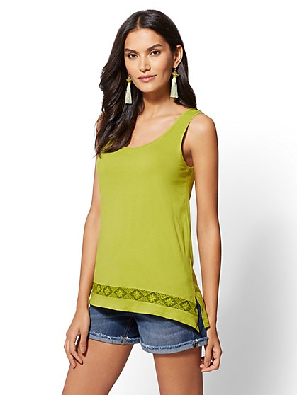Lace-Trim Tank Top - New York & Company