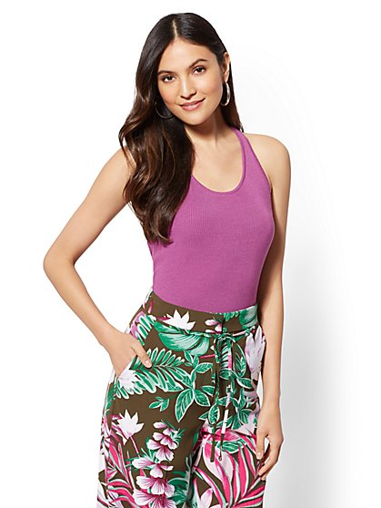 Lace-Up Back Halter Top - New York & Company