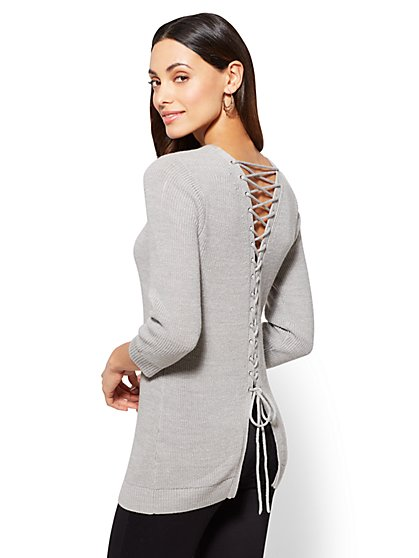Lace-Up Back Pullover - New York & Company