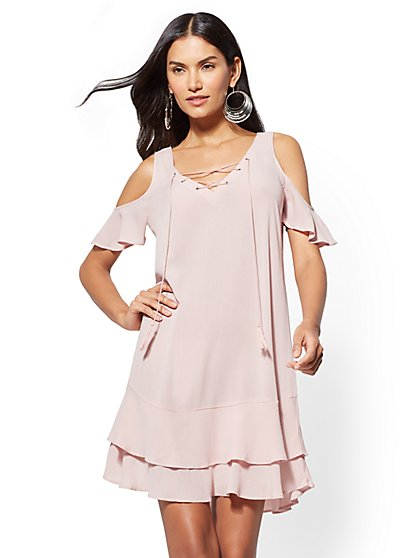 Lace-Up Cold-Shoulder Shift Dress - New York & Company