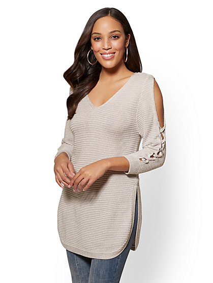Lace-Up Cold-Shoulder Sweater - New York & Company