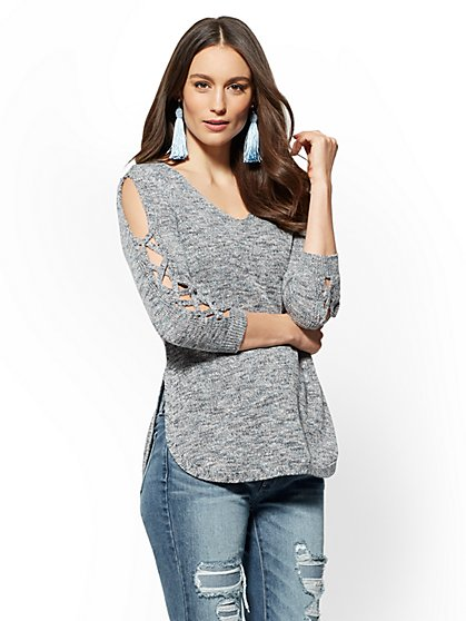 Lace-Up Cold-Shoulder Tunic Sweater - Marled Navy - New York & Company