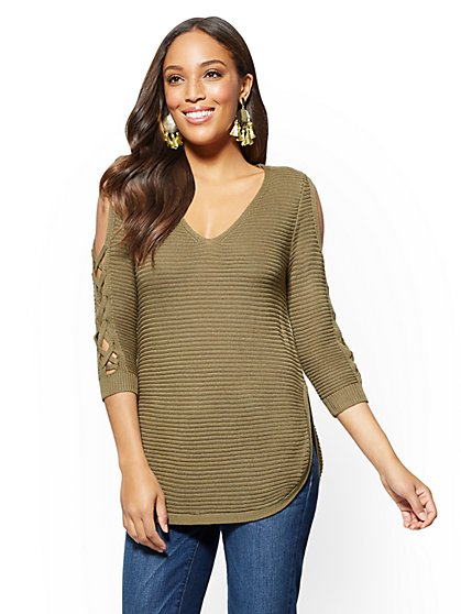Lace-Up Cold-Shoulder Tunic Sweater - New York & Company