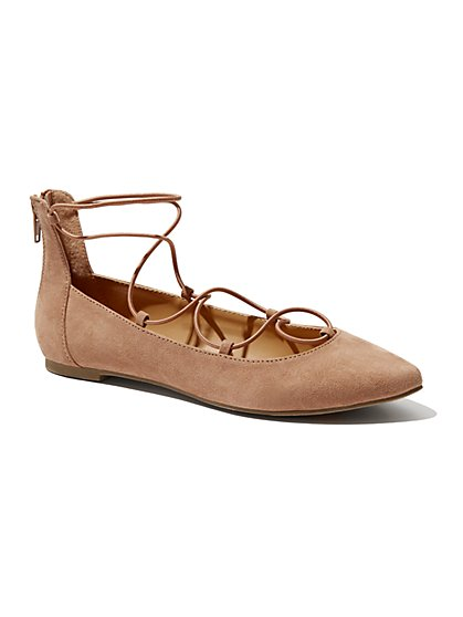 Lace-Up Faux-Suede Flat - New York & Company