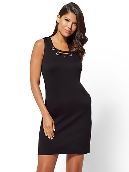 Lace-Up Hooded Knit Dress - New York & Company