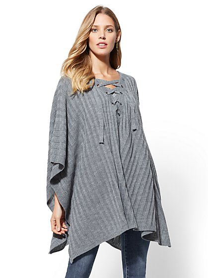 Lace-Up Hooded Poncho - New York & Company