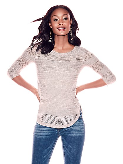 Lace-Up Marled Sweater - New York & Company