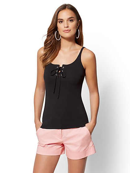 Lace-Up Tank Top - New York & Company