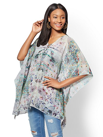 Lace-Up Topper & Cover Up - Floral - New York & Company