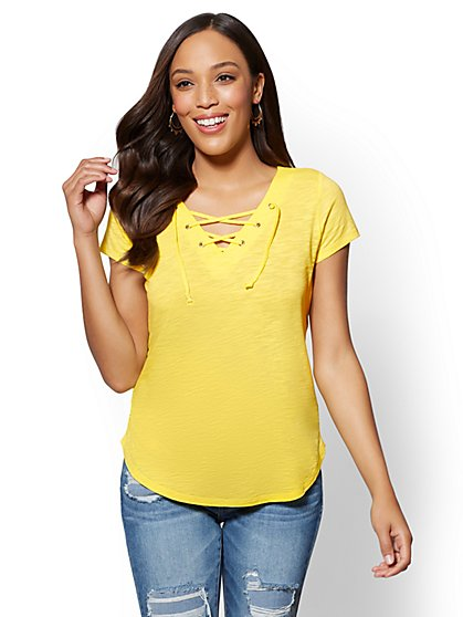 Lace-Up V-Neck T-Shirt - New York & Company