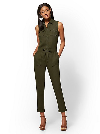 Linen Drawstring-Tie Jumpsuit - New York & Company