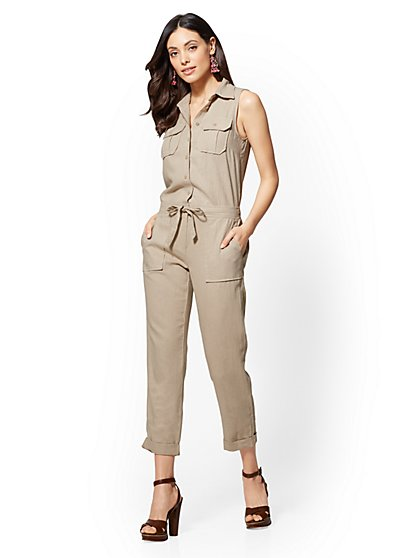 Linen Drawstring-Tie Jumpsuit - New York & Company