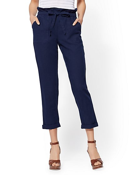 Linen Paperbag-Waist Pant - New York & Company