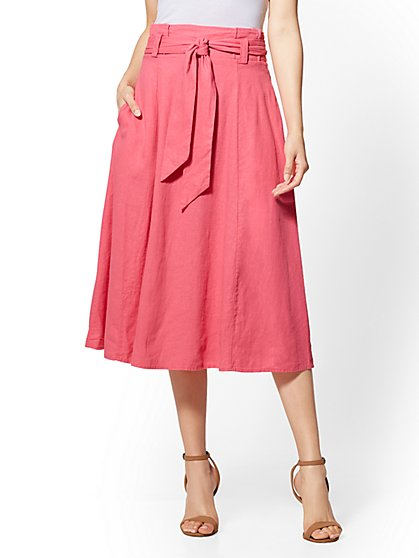 Linen Paperbag-Waist Skirt - New York & Company