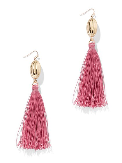 Magenta Tassel Drop Earring - New York & Company