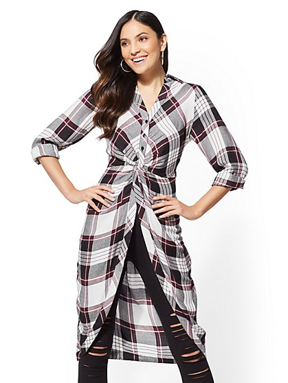 Maroon Plaid Twist-Front Tunic Shirt - New York & Company
