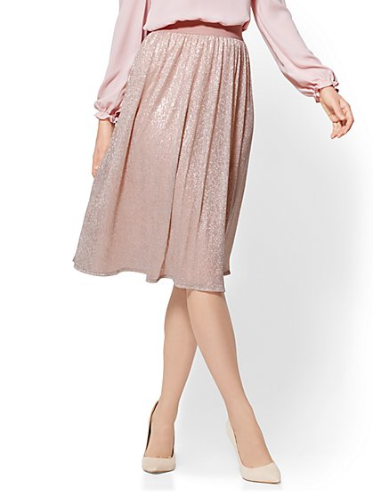 Metallic Flare Skirt - New York & Company