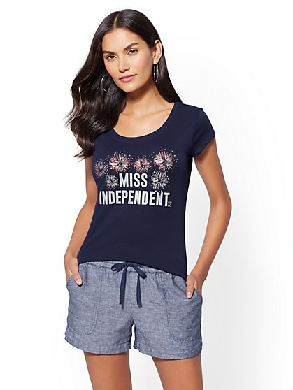 "Metallic-Foil ""Miss Independent"" Graphic Logo Tee - New York & Company"