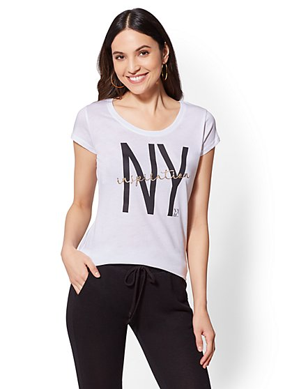 "Metallic Foil ""NY Inspiration"" Graphic Logo Tee - New York & Company"