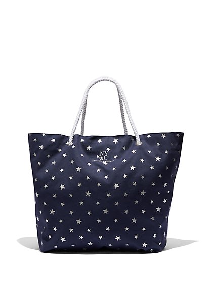 Metallic-Foil Star-Print Canvas Tote Bag - New York & Company