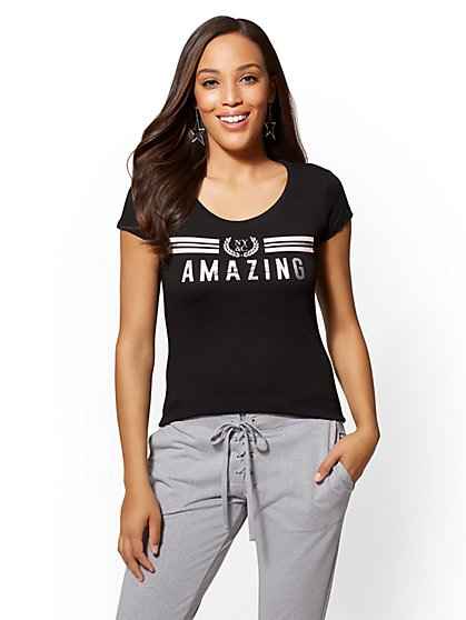 "Metallic-Foil & Stripe ""Amazing"" Graphic Logo Tee - New York & Company"
