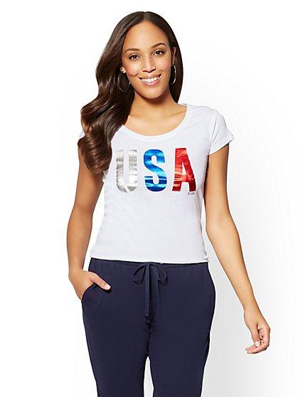 "Metallic-Foil ""USA"" Graphic Logo Tee - New York & Company"