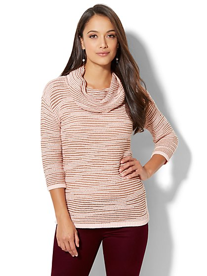 Metallic Stripe Cowl-Neck Sweater - New York & Company