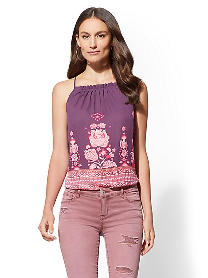 Mixed-Print Pleated Halter Top - New York & Company