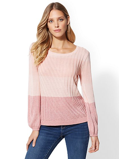 Mixed-Stitch Marled Sweater - New York & Company