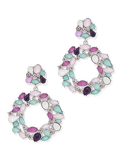 Multicolor Faux-Stone Drop Earring - New York & Company
