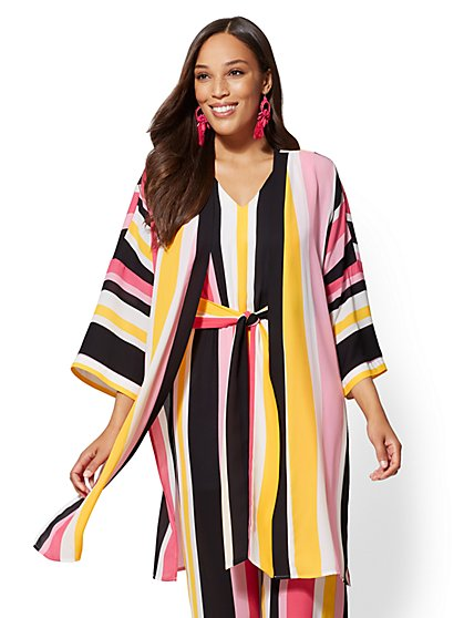 Multicolor Stripe Kimono Jacket - New York & Company