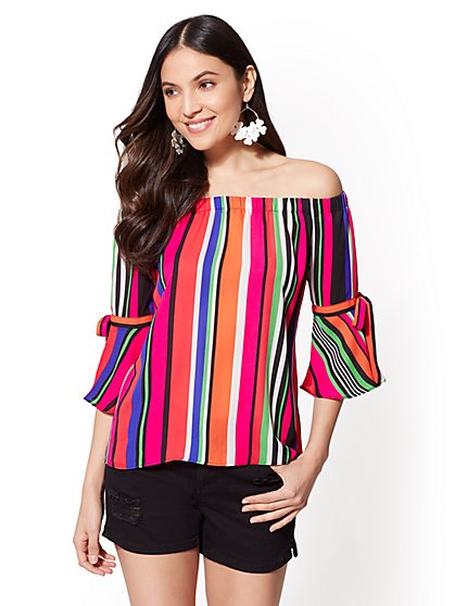 Multicolor Stripe Off-The-Shoulder Blouse - New York & Company