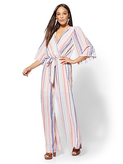 Multicolor Stripe Wrap Jumpsuit - New York & Company