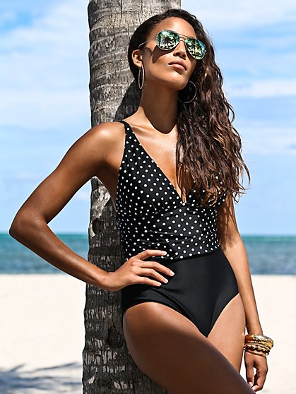 NY&C Swimwear - Dot-Print Colorblock One-Piece Swimsuit - New York & Company