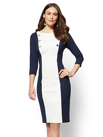Navy Colorblock Sheath Dress - New York & Company