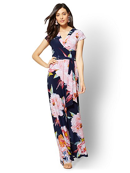 Navy Floral Maxi Dress - New York & Company