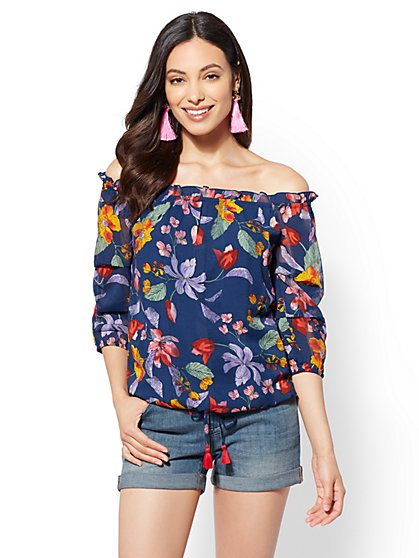 Navy Floral Off-The-Shoulder Blouse - New York & Company