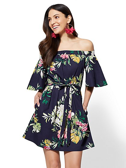 Navy Floral Off-The-Shoulder Shift Dress - New York & Company