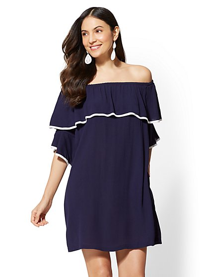 Navy Off-The-Shoulder Shift Dress - New York & Company