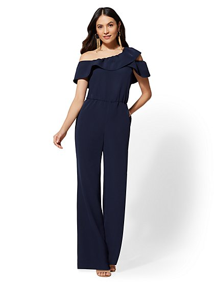 Navy Ruffled Off-The-Shoulder Jumpsuit - New York & Company