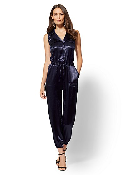 Navy Satin Jogger Jumpsuit - New York & Company