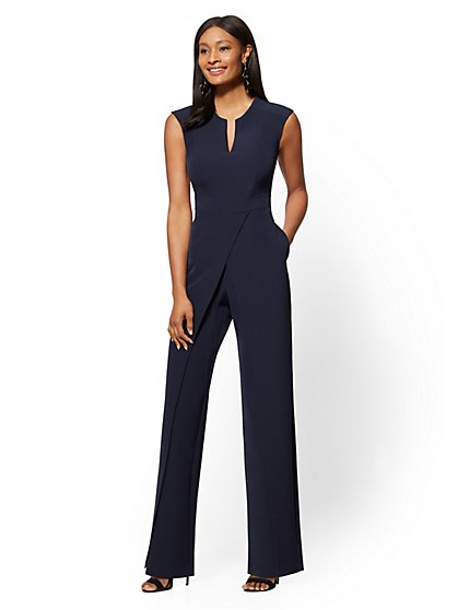 Navy Seamed Wrap Jumpsuit - New York & Company