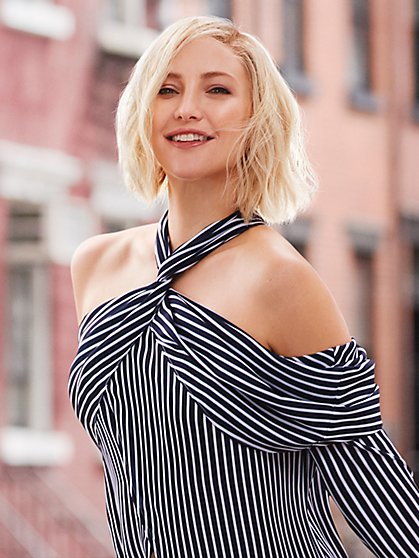 Navy Stripe - Cold-Shoulder Maxi Blouse - New York & Company
