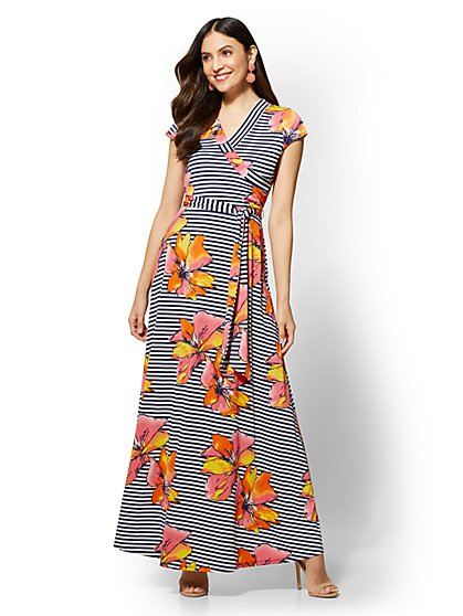 Navy Stripe Floral Maxi Dress - New York & Company