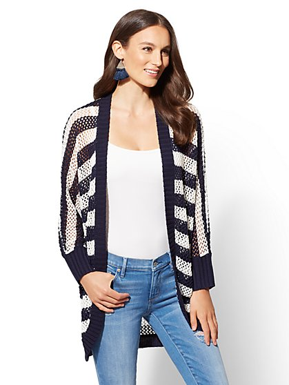 Navy Stripe Open-Stitch Cardigan - New York & Company