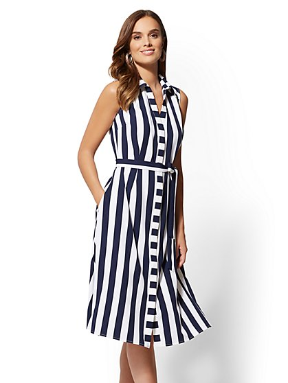 Navy Stripe Shirtdress - New York & Company