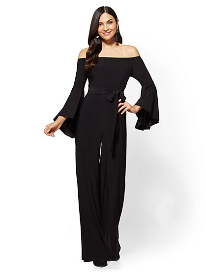 Off-The-Shoulder Bell-Sleeve Jumpsuit - New York & Company