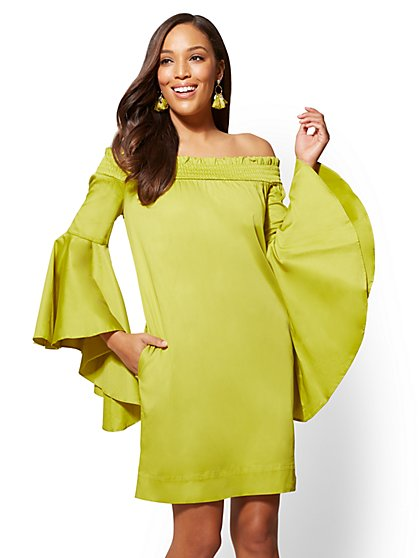 Off-The-Shoulder Bell-Sleeve Shift Dress - New York & Company
