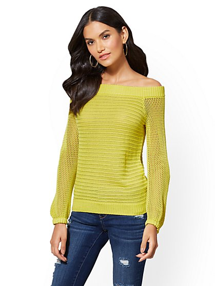 Off-The-Shoulder Open-Stitch Sweater - New York & Company