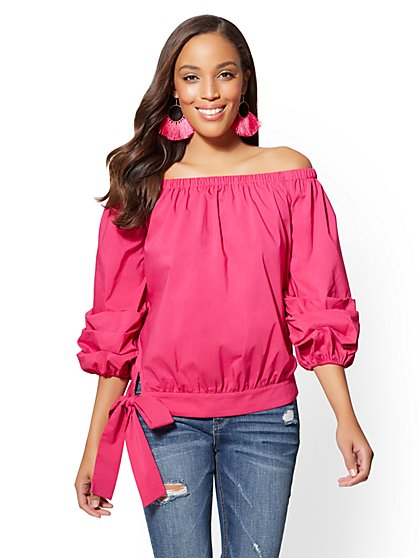 Off-The-Shoulder Poplin Blouse - Fuchsia - New York & Company